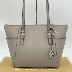 Michael Kors Large Charlotte Tote Bag Pearl Grey